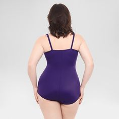 Women's Plus Size Shirred Waist Solid One Piece Swimsuit - Dreamsuit