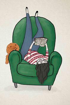 Mi postura lectora. Cómoda?! (ilustración de Ariella Abolaffio)