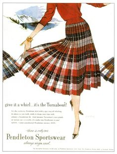 4a596622a Pretty Pendleton Plaid Vintage Pleated Wool Tartan Midi Skirt in Red,  Yellow and Blue