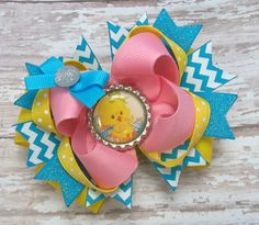 Easter Chick Hair Bow Girls Hair bows by JustinesBoutiqueBows
