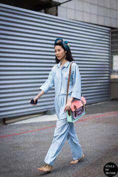 Baby blue jumpsuit Street Style Street Fashion by STYLEDUMONDE Street Style Fashion Blog