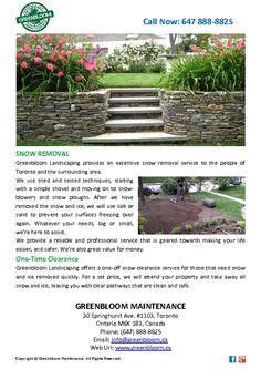 Greenbloom Landscaping provides an extensive snow removal service to the people of Toronto and the surrounding area. http://pdfcast.org/pdf/green-bloom-snow-removal
