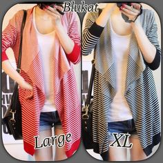 Stripe Open Cardigans Red & White Stripe Loose Cardigan or Black & White Loose Cardigan. Cardigans have wide fall back lapels, solid color @ end of sweater & sleeves, & comes past hips. Red/Medium  Black/Large Each sweater is $28 Lai Jackets & Coats