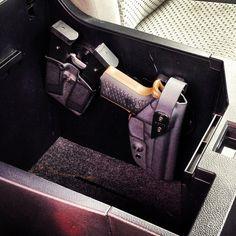 G-Code Holster in a Center Console Weapon Storage, Gun Storage, Storage Ideas, Rifles, Bug Out Vehicle, Gun Holster, Cool Guns, Center Console, Truck Accessories