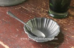 Pewter Shell Salt Cellar with Spoon Cellar, Precious Metals, Pewter, Colonial, Serving Bowls, Spoon, Shells, Salt, Dishes