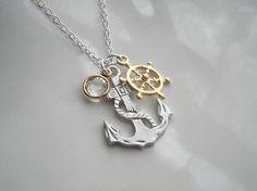 Anchor Pendant Necklace Nautical Jewelry Silver by AnechkasJewelry