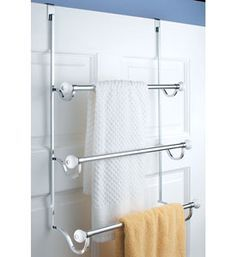 Maximize the available space in any bathroom by hanging bath towels on a York Over the Door Three-Bar Towel Rack.  This beautiful over the door bathroom organizer fits over shower doors or doors measuring up to 2 1/8 inches thick and provides hanging storage space for three towels and other bath linens.York Three-T