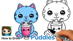 Learn How to Draw this cute cartoon Cat with his Milkshake from Wreck-It Ralph easy, step by step drawing lesson tutorial. Kawaii milkshake and kitten drawin. Art Drawings For Kids, Cartoon Drawings, Cute Drawings, Drawing Lessons, Drawing Ideas, Kitten Drawing, Kawaii Doodles, Sketch Pad