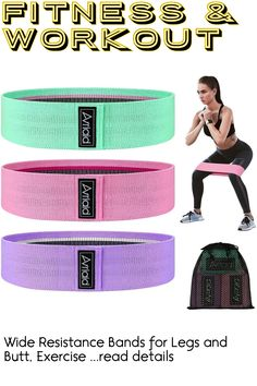 (This is an affiliate pin) Wide Resistance Bands for Legs and Butt, Exercise Bands Hip Bands Wide Booty Bands Workout Bands Sports Fitness Bands Stretch Resistance Loops Band Anti Slip Elastic Resistance Loop Bands, Exercise Bands, Booty, Legs, Workout, Fitness, Sports, Shopping, Hs Sports
