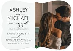 This modern style Engagement Party Invitation Calligraphy Typography with Photo features a lovely design of black and white calligraphy script over the left side and your favorite couples' photo on the right. The backside of this engagement party invite features your full-bleed horizontal photo of your choice.