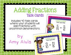 Fraction Task Cards Adding Fractions with Uncommon Denominators Add Fractions, Math Task Cards, Percents, Cover Pages, Student, Ads