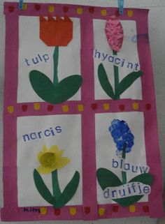 Juf Joyce -  lentebloemen - woorden er bij stempelen Easter Crafts For Kids, Diy For Kids, Recycling, Spring Theme, Kindergarten Art, Spring Activities, School Themes, Creative Kids, Spring Crafts