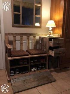 Meuble banc d'entrée en bois recyclé, pièce unique