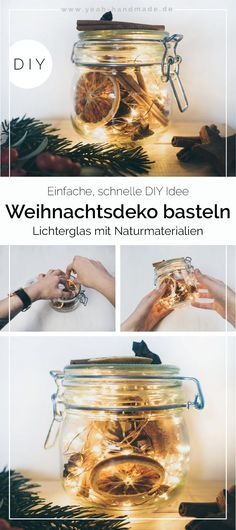Would like to make winter decorations with materials from nature-Mit Materialien Aus Der Natur Winterdeko Basteln Möchten DIY Led Fairy Lights, Led String Lights, Decorating With Christmas Lights, Christmas Decorations, Natal Diy, Light Chain, Diy Décoration, Orange Slices, Natural Make Up