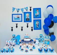 1st Birthday Presents For Boys, First Birthday Decorations Boy, Baby Boy 1st Birthday Party, Birthday Party Tables, Baby Party, First Birthdays, Boss Baby, Creations, Diy Casa