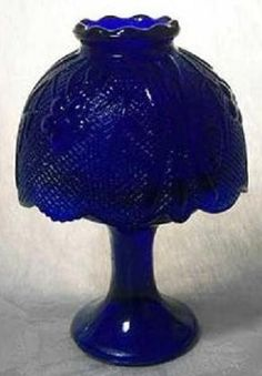 Cobalt Blue Glass Candle Holder w/ Shade