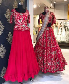 Beautiful red color skort and peplum top. Red color lehenga and blouse with dupatta. Lehenga and tops with hand embroidery work. Sarah Festive Collection by Mrunalini Rao . Lehenga Choli Designs, Kurta Designs, Choli Blouse Design, Half Saree Designs, Blouse Designs, Indian Lehenga, Red Lehenga, Lehenga Blouse, Red Sari