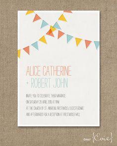 Bunting wedding invitation. $4.00, via Etsy.