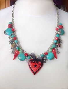 Turquoise and red charm necklace heart pendant  day of by VonFrida