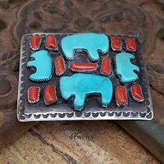 C Chamas Native American Turquoise Buffalo & Mediterranean Coral Unisex Belt Buckle at Schaef Designs Jewelry online Coral Turquoise, Red Coral, Silver Belts, Southwestern Jewelry, Native American Jewelry, Belt Buckles, Hand Stamped, Nativity, Buffalo