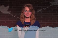 """According to some, Emma Stone """"smells like cat p**s"""" and Matthew McConaughey is a """"d**k turd"""". Jimmy Kimmel has once again let a bunch of celebrities rea Celebrity Mean Tweets, Celebrities Read Mean Tweets, Celebrities Reading, Emma Stone, Doctor Strange Trailer, Funny Tweets, Funny Memes, That's Hilarious, Mindy Kaling"""