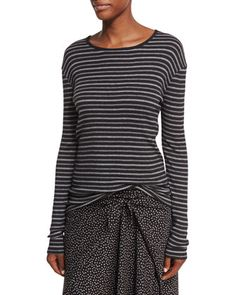Double-Stripe+Long-Sleeve+Crewneck+Tee+by+Vince+at+Bergdorf+Goodman.