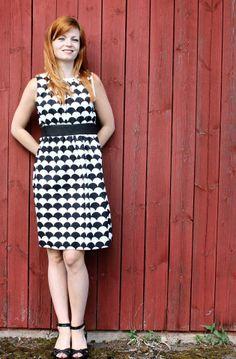 black and white, womens handmade dress