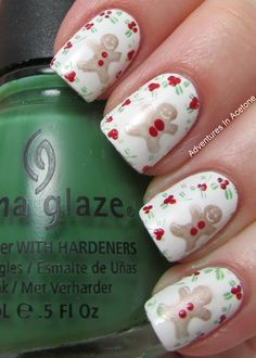 Adventures In Acetone: Digit-al Dozen DOES Festiveness: Gingerbread Men nail art...x