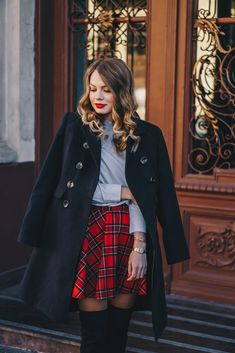 Red plaid skirt and OTK boots - Christmas outfit - Pink WishPink Wish Red Skirts, Plaid Skirts, Red Coat Outfit, Timeless Classic, Red Plaid, Ruffle Blouse, My Style, Boots, Christmas
