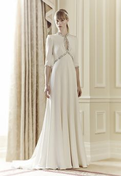 Cynthia by Jenny Packham.  Love this 1960's feel, cream wedding gown.