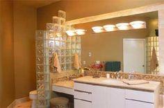 glass blocks in bathroom Glass Block Installation, Glass Brick, Glass Tiles, Privacy Walls, Vanity, Mirror, Furniture, Bricks, Pittsburgh