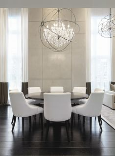 Find unique lighting ideas for a modern dining room design. Luxury Dining, Kelly Hoppen Interiors, White Dining Room, Dining Room Decor, Dining Room Interiors, Home Decor, House Interior, Formal Dining Room, Modern Dining Room