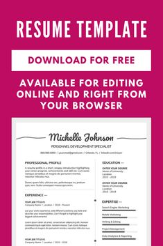 Get Free Resume Template Resume Template Examples, Resume Design Template, Creative Resume Templates, Cv Template, Cover Letter For Resume, Cover Letters, First Resume, Resume Profile, Teaching Resume