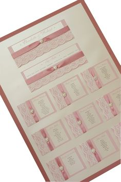 This Table plan is from our 'Bardot' range of wedding stationery and accessories, Made in colours to match your theme. Embellished with lace and pearl hearts. Shown here in Dusky pink and Ivory