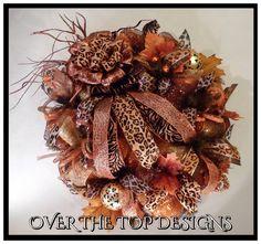 Beautiful Fall Animal Print Wreath from www.facebook/overthetopwreaths