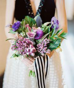 Modern purple + green bouquet