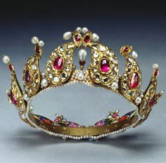 Gold, Ruby, Diamond, and Pearl Indian Tiara. Provenance: Presented to Queen Victoria and placed among Indian Collection belonging to Crown by King George V in 1924.