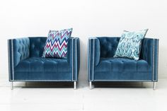 Hollywood Chairs in Como Cyan Velvet