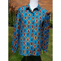 Vintage Paisley Blouse, Teal, Turquoise, Printed, Rounded collar, Button up, gathered sleeve, Suburbans, Dressy, Career by Have2Shop on Etsy