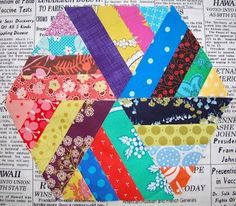 Love this scrappy hexagon quilt block from Diary of a Quilt Maven