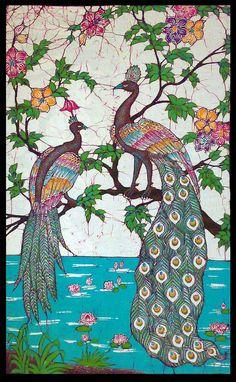 Peacock Art...Peacock Batik Art...By Artist Unknown...