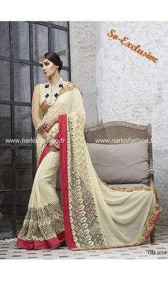 #Sari Zouhaina - Beige Gold Doré Designer #Saree Indian indien #Collection #Hiver #2015 #SoExclusive #NarkisFashion 145€ #Desi #Style #Fashion