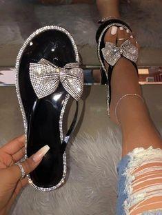 Bling Sandals, Rhinestone Sandals, Cute Sandals, Cute Shoes, Summer Sandals, Bling Shoes, Rhinestone Bow, Jelly Sandals, Flip Flop Sandals