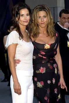 Courteney Cox & Jennifer Aniston at NBC's 75th Anniversary party in 2002