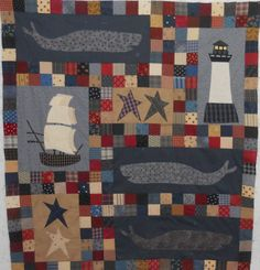 Must make this too: from Jan Patek Oceans Aweigh book--Log Cabin Quilter: SAVE THE WHALES