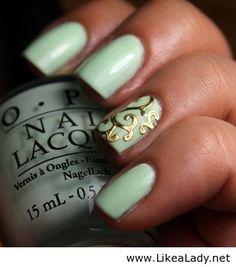 #Capri #Jewelers #Arizona ~ www.caprijewelersaz.com  ♥ Gold nail detailing. Navy instead of mint and I could do it for prom!