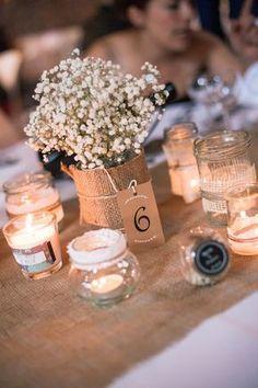 centre de table pour un mariage DIY, nature, champêtre et vintage