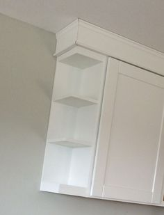Open end shelf tutorial for kitchen wall cabinet shelves free plans crown moulding ANA-WHITE.com white kitchen