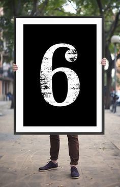 "Typography Art ""6"" Number Six Printable Poster - Numerology Vintage Number Art Decor No 6 Wall Art Digital Print *INSTANT DOWNLOAD*"