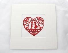 Love Heart Paper Cut Design, Couple Holding Hands, Daisy, Hearts and Flowers via Etsy